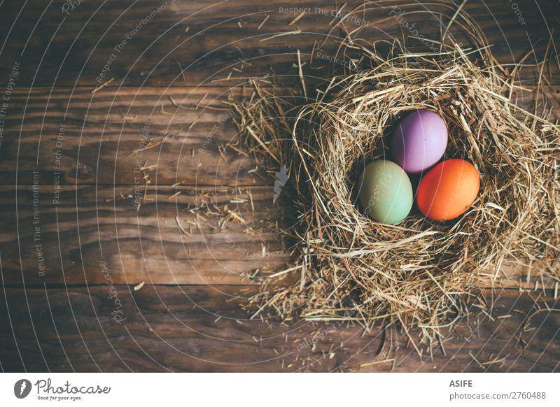 Ostereier im Heunest auf rustikalem Holzgrund Freude Glück Jagd Dekoration & Verzierung Feste & Feiern Ostern Gras dunkel lustig grün Farbe Tradition Ei