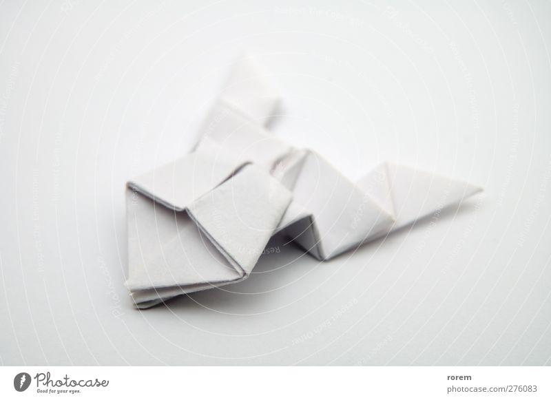 Papierfrosch Freizeit & Hobby Handarbeit Spielzeug weiß gefaltet Origami Nahaufnahme Menschenleer Hintergrund neutral Schwache Tiefenschärfe Freisteller