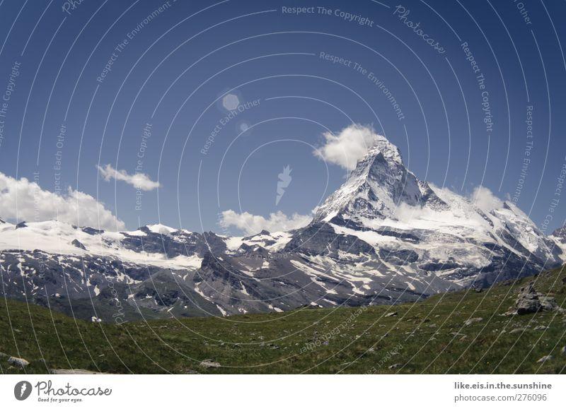 pause mit matterhorn-blick Himmel Natur Ferien & Urlaub & Reisen Sommer Landschaft Ferne Umwelt Berge u. Gebirge Schnee Freiheit Freizeit & Hobby hoch wandern