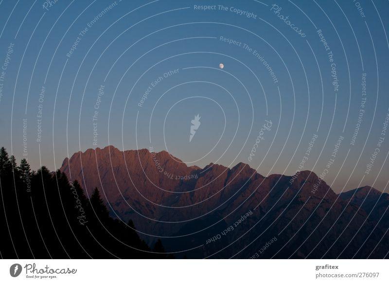 Lienzer Dolomiten im Abendrot Himmel Baum Sommer ruhig Wald Landschaft Berge u. Gebirge Stimmung Schönes Wetter Alpen Gipfel Mond Wolkenloser Himmel Nachthimmel trösten