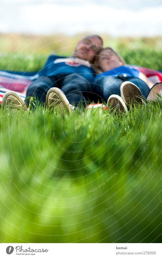 Und in der Ferne Hochzeitsglocken Mensch Jugendliche grün Sommer Sonne Erwachsene Erholung Liebe feminin Leben Gras Junge Frau Kopf Beine Paar Fuß