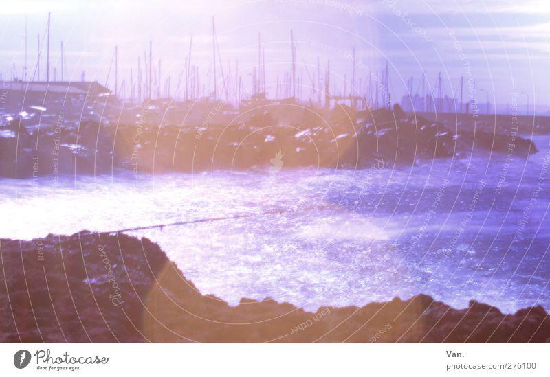 Komm, angeln! Angeln Ferien & Urlaub & Reisen Sommerurlaub Wasser Himmel Felsen Wellen Küste Bucht Meer Segelboot Hafen Jachthafen Mast blau Angelrute Farbfoto