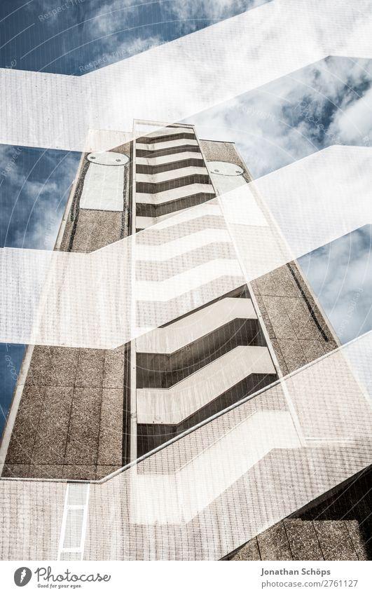 Mehrfachbelichtung Hochhaus in Bristol Stadt Haus Architektur Graffiti Stil Gebäude außergewöhnlich Fassade Treppe ästhetisch hoch Beton Neigung Stadtzentrum