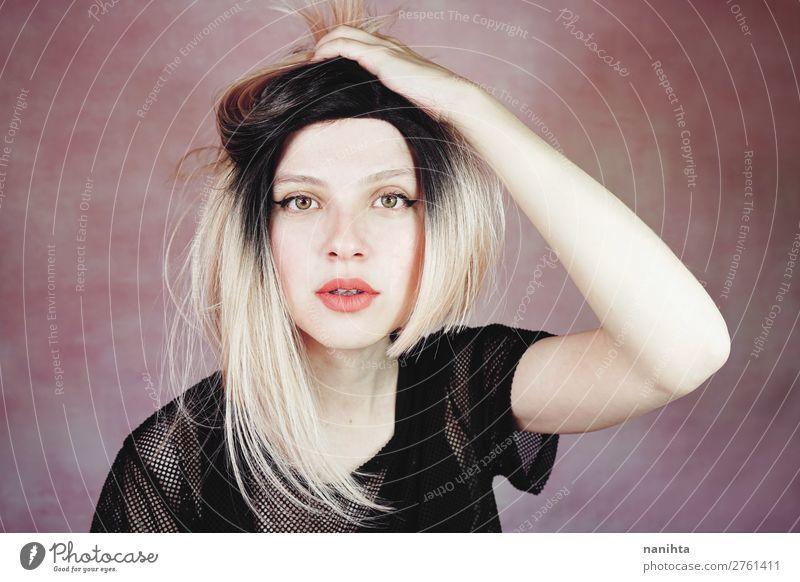 Frau Mensch Jugendliche Junge Frau schön weiß 18-30 Jahre Gesicht Lifestyle Erwachsene feminin Stil Mode Haare & Frisuren rosa frei
