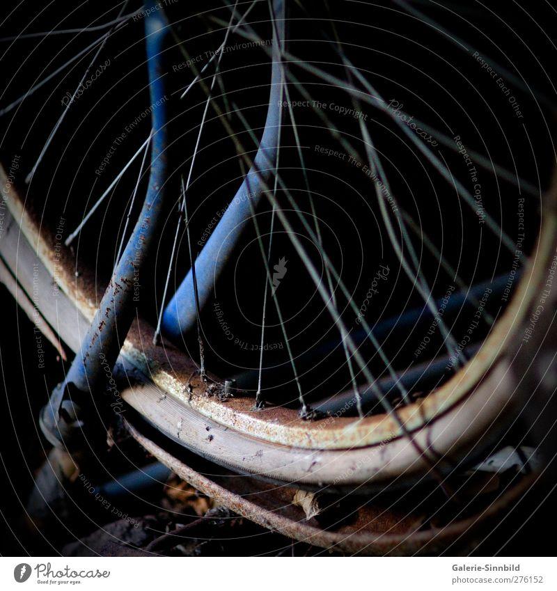 Old Bicycle Wheel Freizeit & Hobby Fahrradfahren radeln Ausflug Verkehrsmittel Verkehrsunfall Fahrzeug Stahl Rost alt dreckig dunkel blau braun grau schwarz