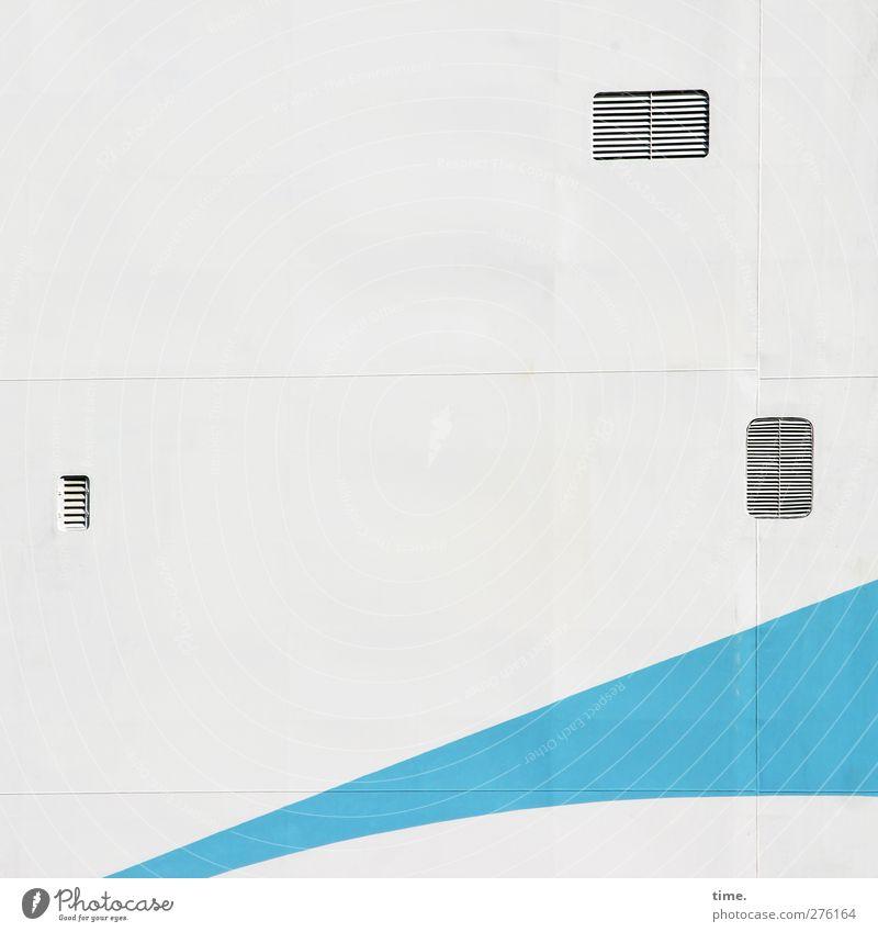 Rausfallsicherung blau weiß Wand Farbstoff Mauer Metall außergewöhnlich Fassade geschlossen Verkehr Ordnung modern ästhetisch planen Grafik u. Illustration geheimnisvoll