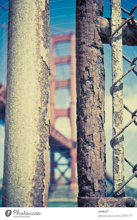 Rusty Gate Bridge blau alt Stadt rot braun Brücke Zaun Rost Eisenrohr Wahrzeichen Spalte Golden Gate Bridge