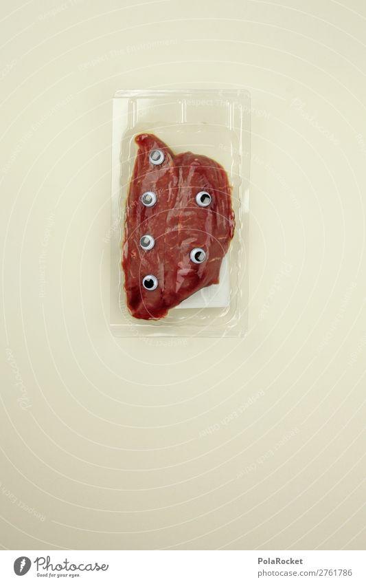 #A# GenFleisch Kunst ästhetisch Steak Fleischgerichte Fleischfresser Fleischesser Fleischskandal Gentechnik Auge verpackt Farbfoto Gedeckte Farben Innenaufnahme
