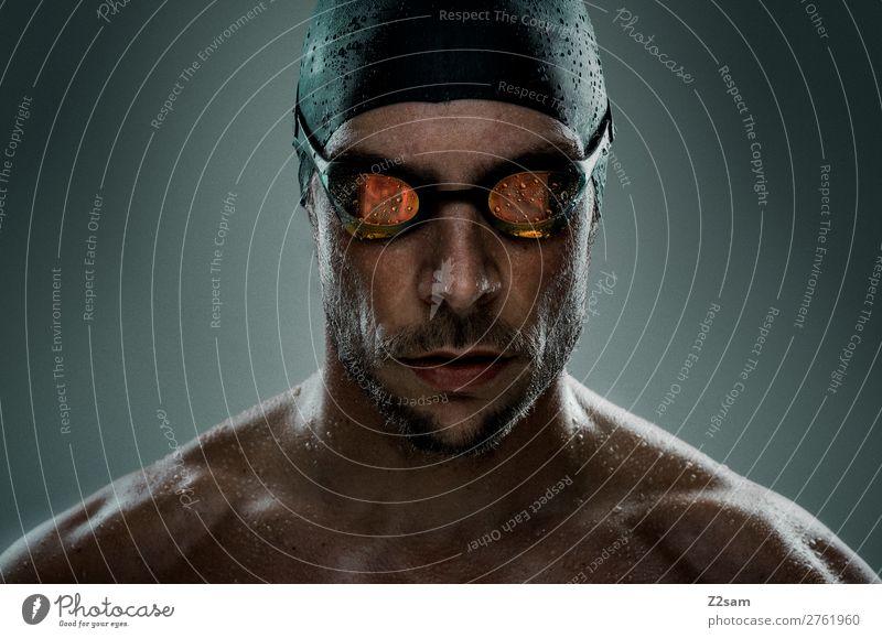 Swimmer Freizeit & Hobby Sport Fitness Sport-Training Schwimmen & Baden Junger Mann Jugendliche Schwimmbrille bademütze Bart sportlich Coolness dunkel frisch