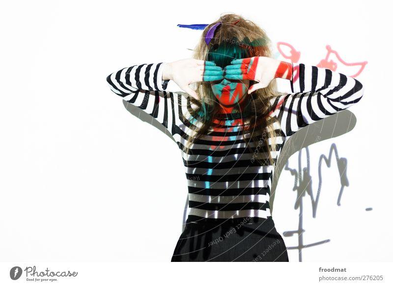 augen Mensch Frau Jugendliche Erwachsene feminin Junge Frau Stil Kunst blond wild verrückt einzigartig Kreativität Idee geheimnisvoll trashig