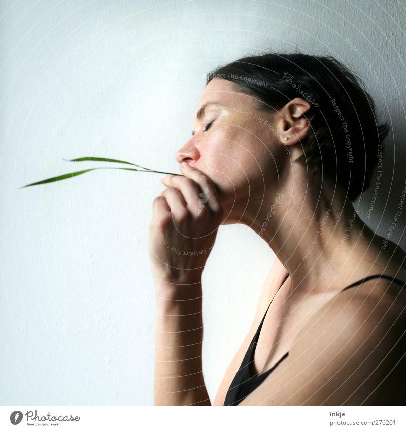 Gras rauchen [ Entwöhnungsphase ] Mensch Frau Jugendliche schön ruhig Erwachsene Erholung Leben Junge Frau Denken Gesundheit Zufriedenheit Freizeit & Hobby