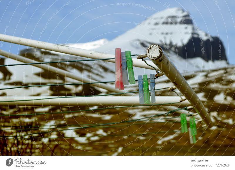 Island Umwelt Natur Landschaft Himmel Klima Felsen Berge u. Gebirge Gipfel Schneebedeckte Gipfel Metall hängen außergewöhnlich kalt mehrfarbig Wäscheklammern