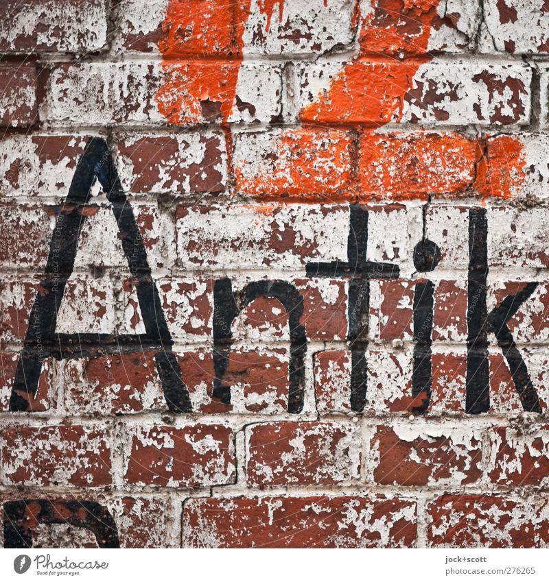 Antik - selbst gemacht alt Wand Mauer Linie authentisch Schriftzeichen Kreativität einfach Vergänglichkeit einzigartig Vergangenheit fest nah Backstein gemalt