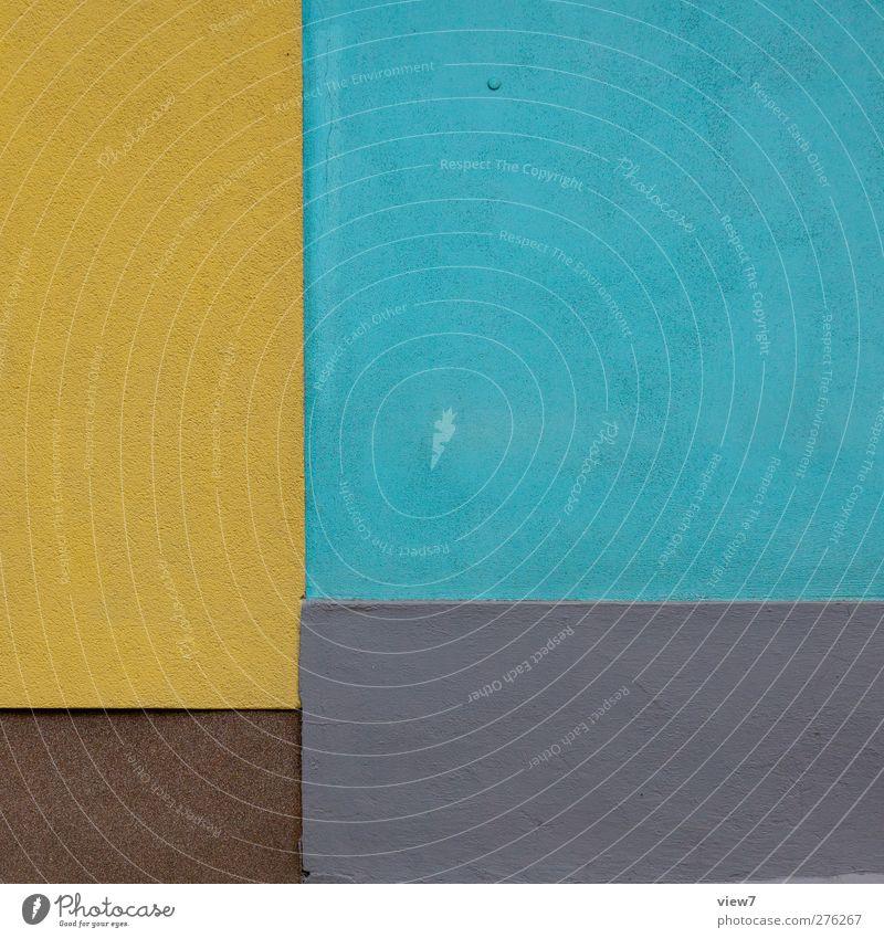 Versatz Haus Bauwerk Gebäude Architektur Mauer Wand Fassade Stein Beton Linie Streifen ästhetisch authentisch einfach frisch modern blau mehrfarbig gelb Beginn