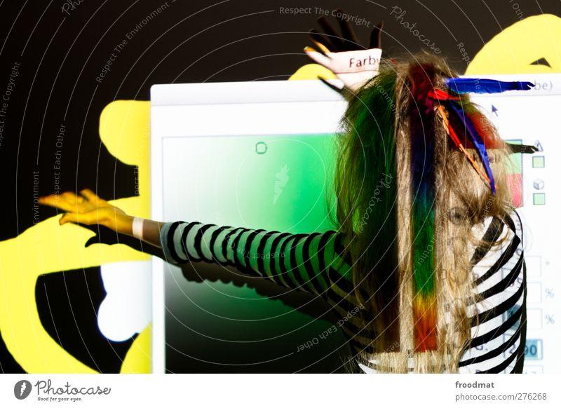 farbwert Mensch Frau Jugendliche Freude Erwachsene feminin Junge Frau Kunst blond Design einzigartig Kreativität Medien entdecken trashig trendy