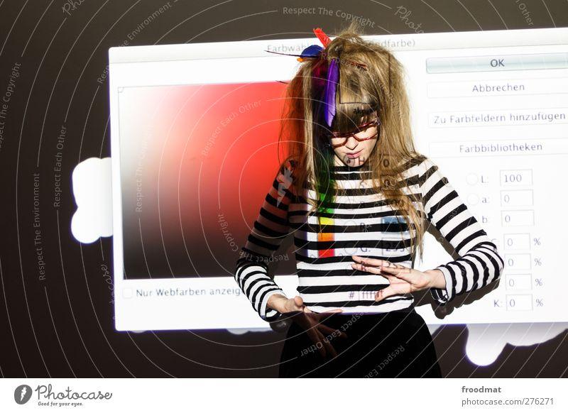 nur webfarben Mensch feminin Junge Frau Jugendliche Erwachsene 1 Künstler Brille brünett blond langhaarig frisch trendy schön einzigartig trashig Identität