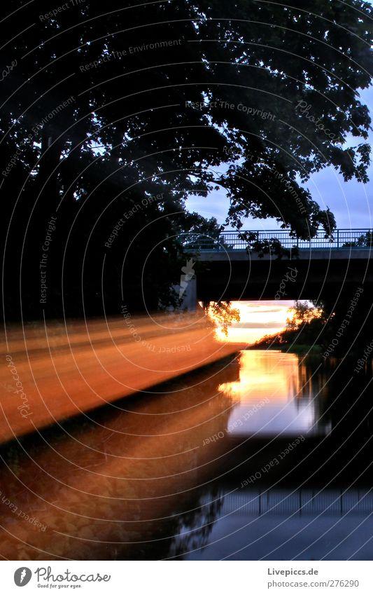 Kanalstrahl Natur Landschaft Wasser Himmel Wolken Sonnenaufgang Sonnenuntergang Sonnenlicht Sommer Schönes Wetter Pflanze Baum Flussufer Brücke Verkehrswege