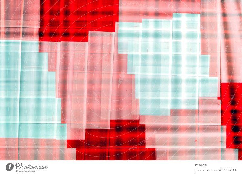 Pixelig Design Baustelle Barriere Kunststoff Linie Streifen trendy einzigartig modern rot weiß chaotisch Farbe Hintergrundbild Doppelbelichtung Farbfoto