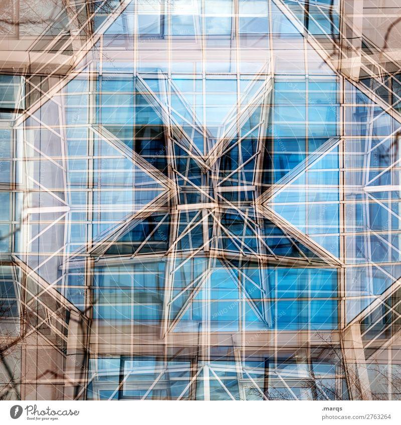 Stern Architektur Glas Metall Linie Stern (Symbol) verrückt ästhetisch Surrealismus Doppelbelichtung komplex Farbfoto Außenaufnahme abstrakt Strukturen & Formen