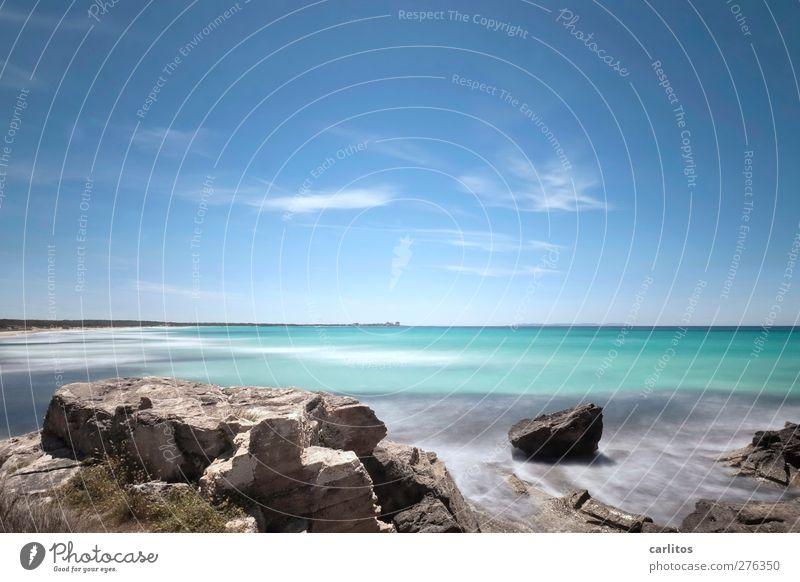 Es Trenc Umwelt Natur Urelemente Luft Wasser Himmel Sommer Schönes Wetter Felsen Küste Meer Mittelmeer Erholung ästhetisch Gelassenheit ruhig Fernweh Horizont
