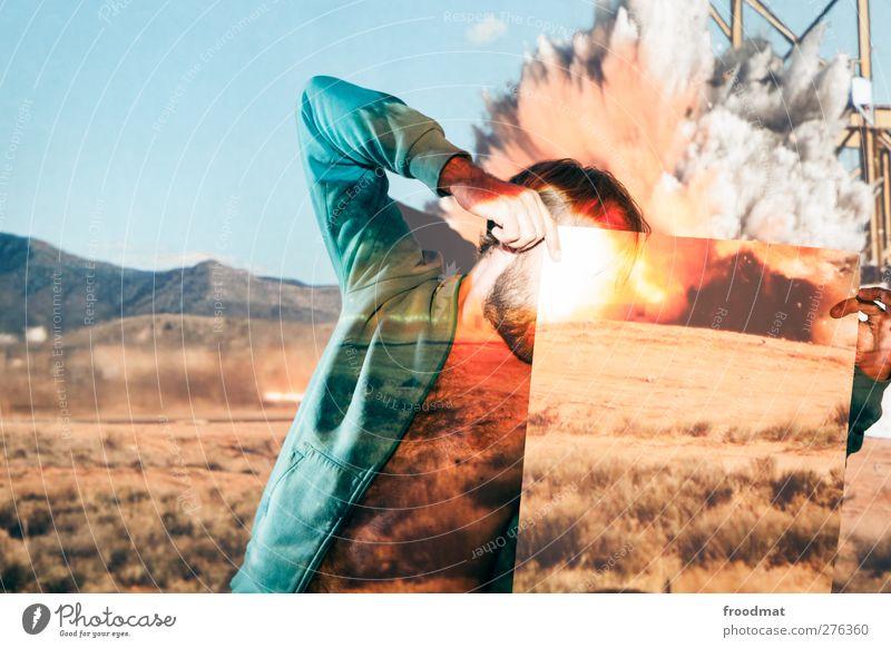 kopfkino Mensch Mann Jugendliche Erwachsene Kunst Angst maskulin Papier bedrohlich Kreativität Idee Wüste Wut Stress verstecken trashig
