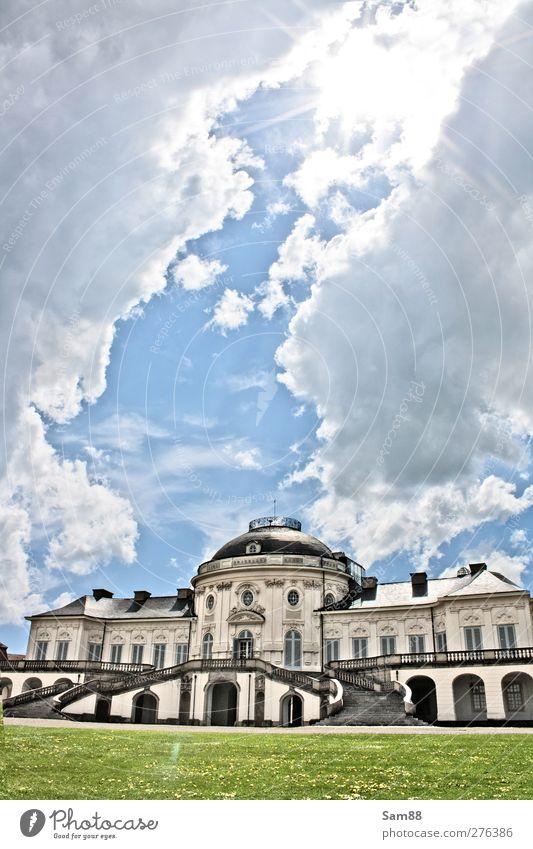 Schloss Solitude II Himmel Wolken Sonne Sonnenlicht Stuttgart Burg oder Schloss Park Bauwerk Gebäude Architektur Sehenswürdigkeit Ehre Genusssucht