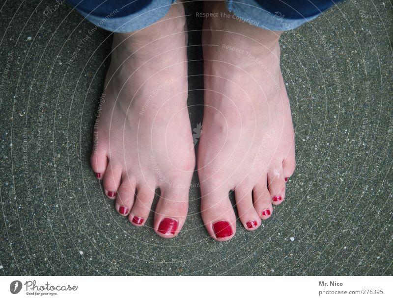 lackiert Körperpflege Pediküre Nagellack feminin Haut Fuß stehen warten rot Barfuß Zehen stillgestanden stylen Geruch Beine Perspektive Standort abstrakt