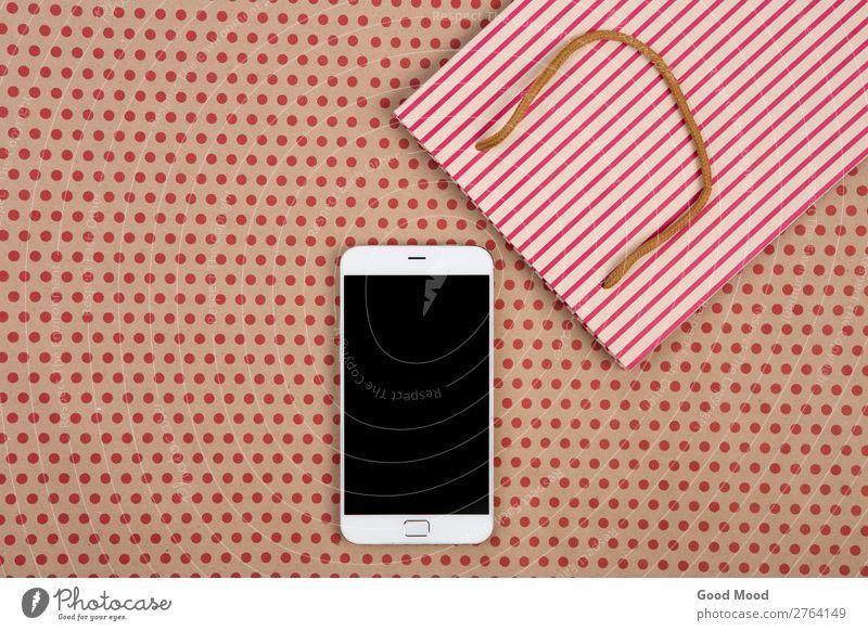 gestreifte Einkaufstasche, Geschenktaschen und Smartphone kaufen Stil Design Büro Handwerk Business Telefon PDA Bildschirm Technik & Technologie Musiknoten