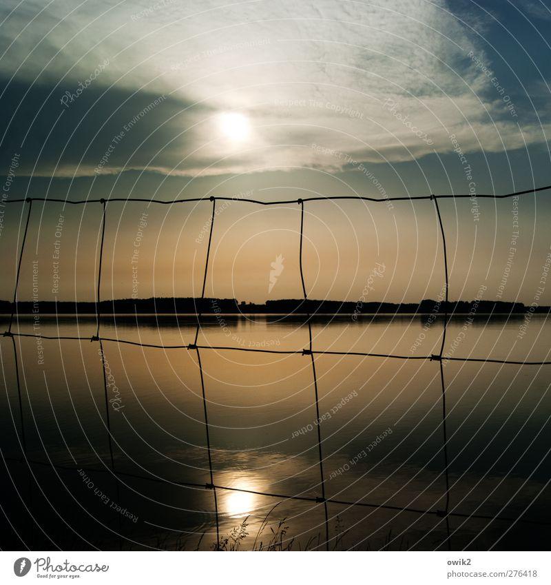 Naturschutz Umwelt Landschaft Pflanze Wasser Himmel Wolken Horizont Sonnenlicht Klima Wetter Schönes Wetter Seeufer Zaun Begrenzung leuchten Duft glänzend
