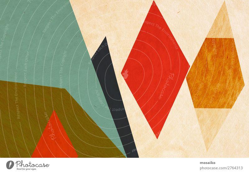 farbenfrohe geometrische Formen - Grafikdesign elegant Stil Design Freude Leben Dekoration & Verzierung Tapete Bildung Kindergarten Papier dreckig retro