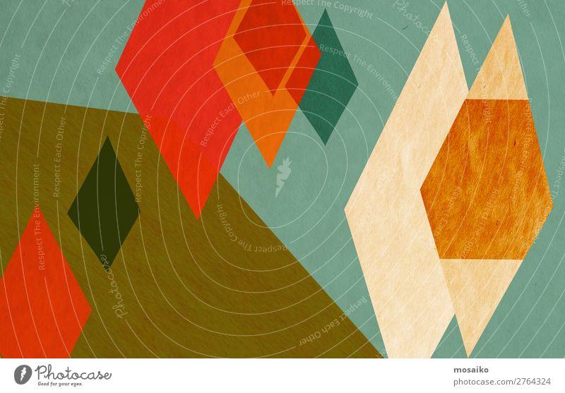 farbenfrohe geometrische Formen - Papierstruktur - Grafikdesign Stil Design Dekoration & Verzierung Tapete Handwerk Rost ästhetisch dreckig Glück retro