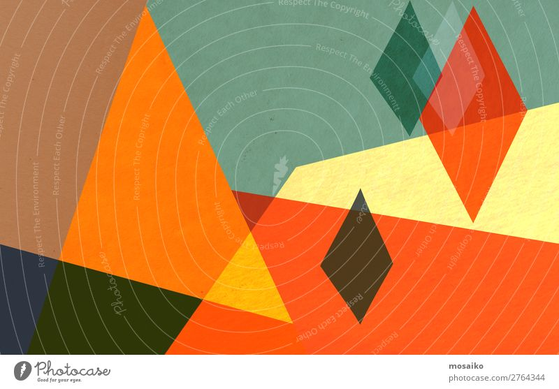 farbenfrohe geometrische Formen - Papierstruktur - Grafikdesign Lifestyle elegant Stil Design Freude Freizeit & Hobby Dekoration & Verzierung Tapete