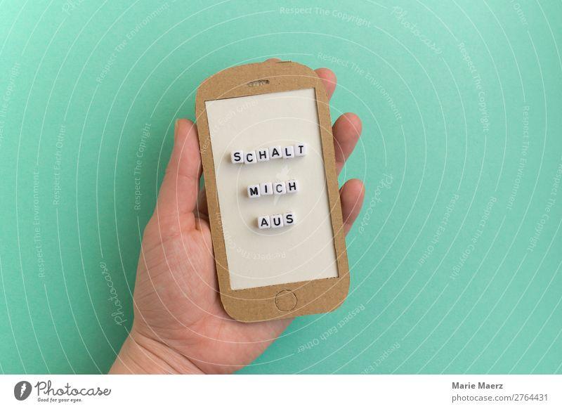 Hand mit Handy - Schalt mich aus Mensch Erholung ruhig Lifestyle Zeit Freizeit & Hobby modern Kommunizieren Telekommunikation Geschwindigkeit Information