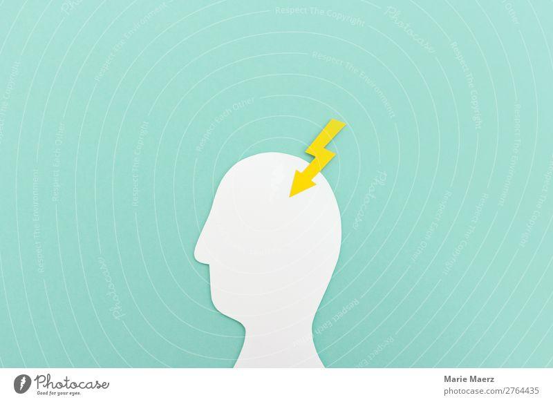 Geistesblitz - Kopf Silhouette mit Blitz aus Papier Mensch 1 Zeichen Blitze Denken Neugier mehrfarbig Erschöpfung gefährlich Stress Nervosität Aggression