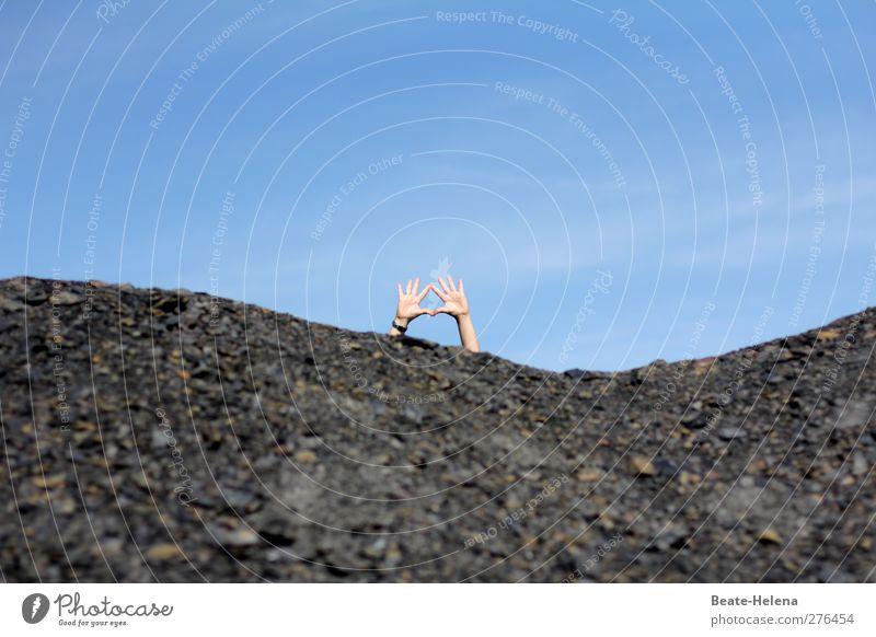We will survive Ferien & Urlaub & Reisen Tourismus Ausflug Abenteuer Sommer Sonne Arme Hand Künstler Umwelt Landschaft Erde Sand Luft Himmel Hügel