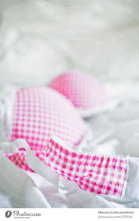 kleinkariert. weiß Erotik Liebe Mode rosa Wohnung Häusliches Leben Romantik Bettwäsche Stoff Spitze kariert Lust Nachtleben Unterwäsche Verabredung