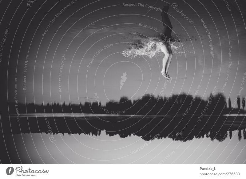 Ich fall aus allen Wolken... Mensch Himmel Wasser Baum dunkel See Horizont Schwimmen & Baden maskulin Wassertropfen fantastisch Vignettierung faszinierend zeitlos