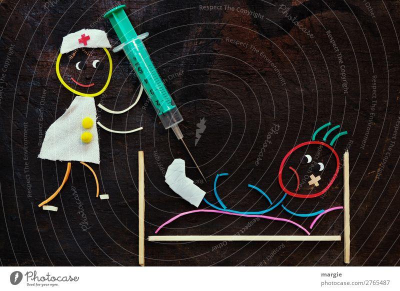 Gummiwürmer: Gute Besserung! Frau Kind Mensch Mann grün weiß Beine Erwachsene feminin Gesundheitswesen braun maskulin Hilfsbereitschaft Bett Krankheit