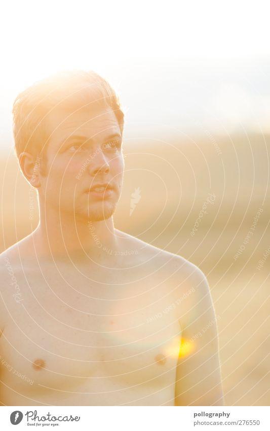 Entdecke das Gute in dir! Mensch maskulin Junger Mann Jugendliche Erwachsene Leben 1 18-30 Jahre Natur Landschaft Horizont Sommer Schönes Wetter Kornfeld Feld