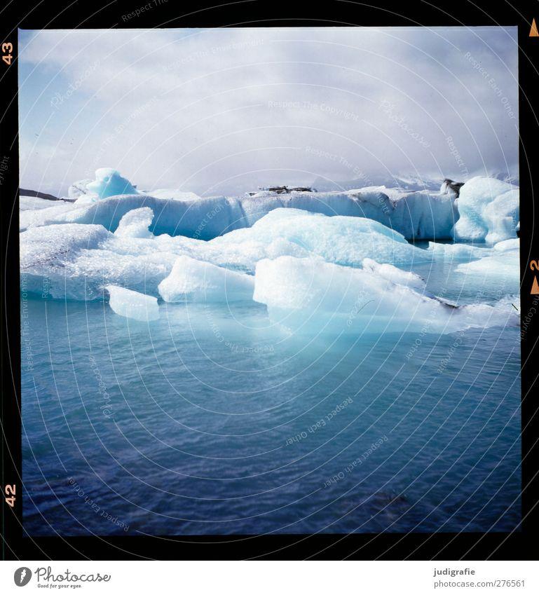 Island Umwelt Natur Landschaft Wasser Himmel Klima Klimawandel Eis Frost Gletscher See Jökulsárlón Schwimmen & Baden kalt natürlich wild blau Farbfoto