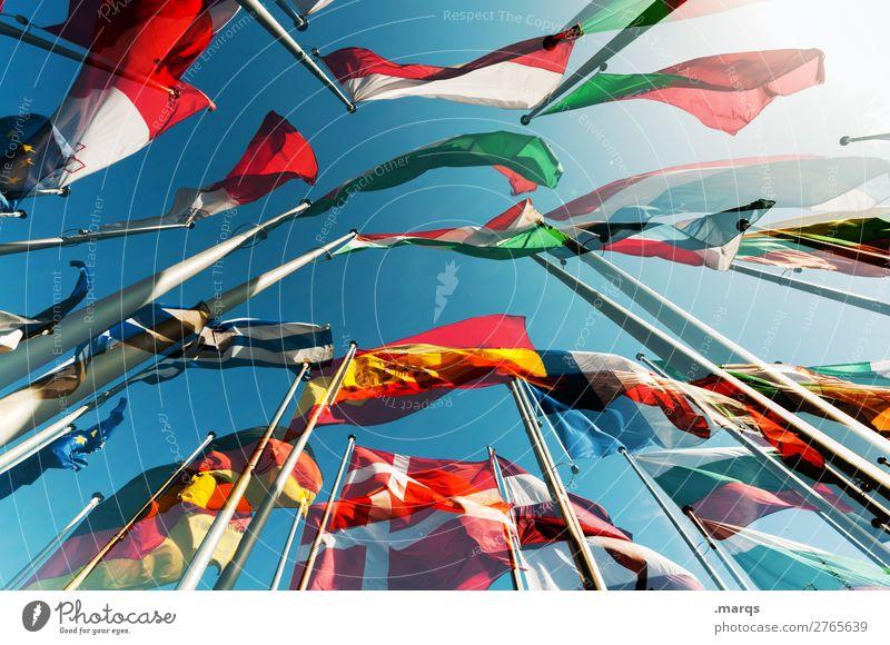 EU Wolkenloser Himmel Zeichen Fahne Politik & Staat Europa Wahlen Deutschland Spanien Frankreich Italien Polen Portugal Bündnis Griechenland Nationalflagge