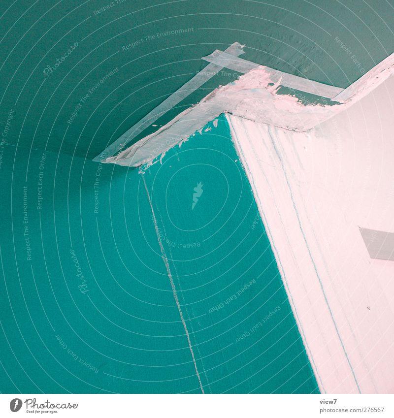 malerarbeiten Hausbau Renovieren Innenarchitektur Anstreicher Arbeitsplatz Baustelle Mauer Wand bauen machen alt einfach modern Klischee trist blau Beginn