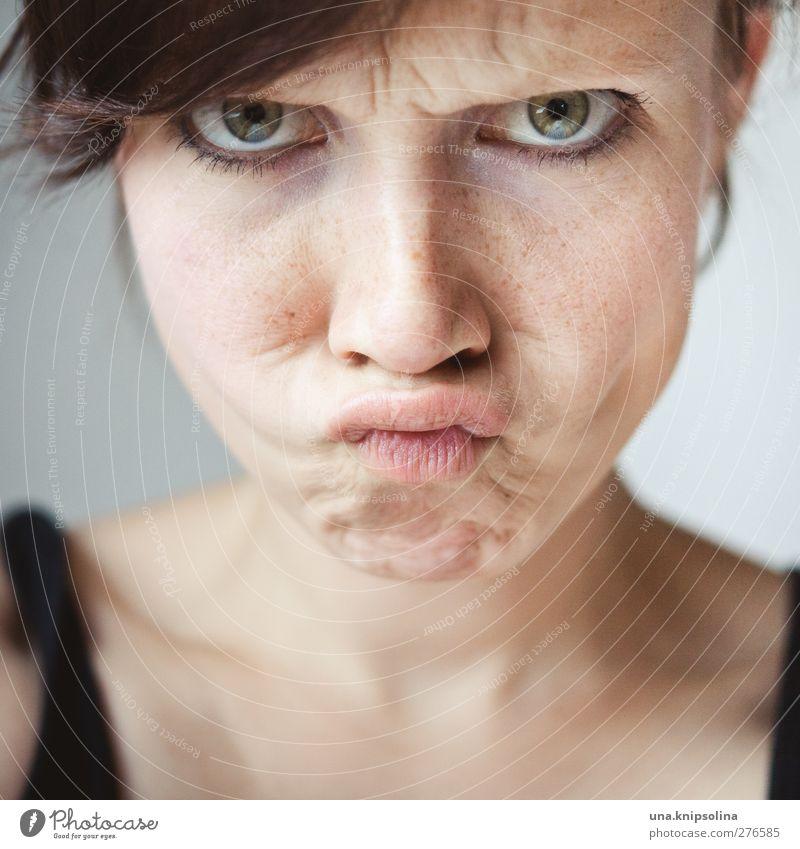 schmollen Freude feminin Junge Frau Jugendliche Erwachsene Gesicht Mund 1 Mensch 18-30 Jahre Traurigkeit natürlich niedlich Gefühle Ärger trotzig Grimasse