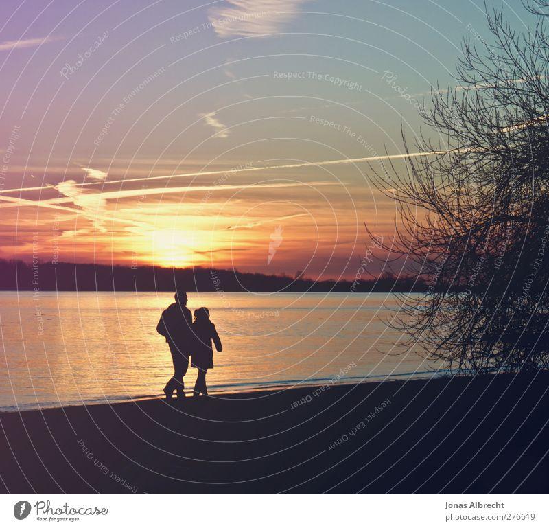 Spaziergang Sommer Strand maskulin feminin Junge Frau Jugendliche Junger Mann Paar 2 Mensch 18-30 Jahre Erwachsene Natur Sand Luft Wasser Himmel Wolken Sonne