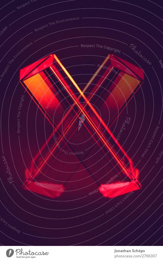 Prisma Laser Sci-fi Hintergrund als Buchstabe X blau rot schwarz Hintergrundbild retro leuchten Technik & Technologie Glas Computer Zukunft Weltall Futurismus