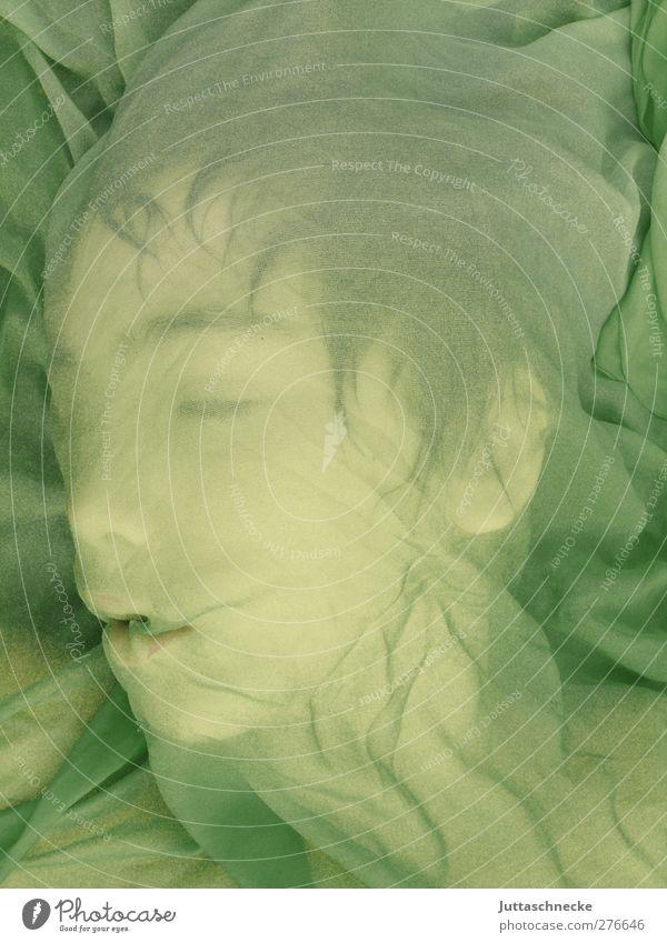 Der kleine Drache schläft Mensch maskulin androgyn Kopf Gesicht 1 Theaterschauspiel schlafen grün Vertrauen Geborgenheit ruhig träumen Zufriedenheit Frieden