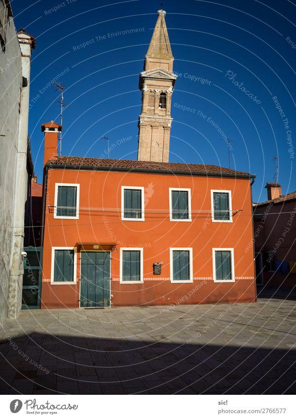 Burano 04 Ferien & Urlaub & Reisen Tourismus Ausflug Sightseeing Städtereise Häusliches Leben Meer Adria Insel Italien Europa Dorf Fischerdorf Haus Kirche