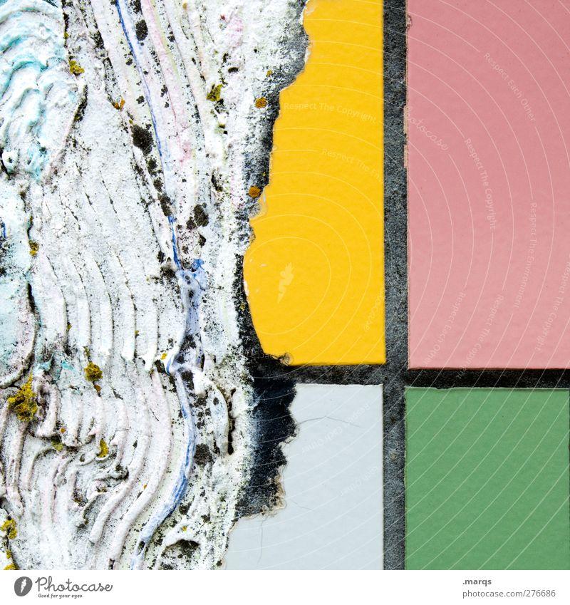 Ausbruch Stil Design Mauer Wand Stein Beton Linie alt einzigartig kaputt Farbe Verfall Renovieren gelb rosa weiß grün Fliesen u. Kacheln Putz Hintergrundbild