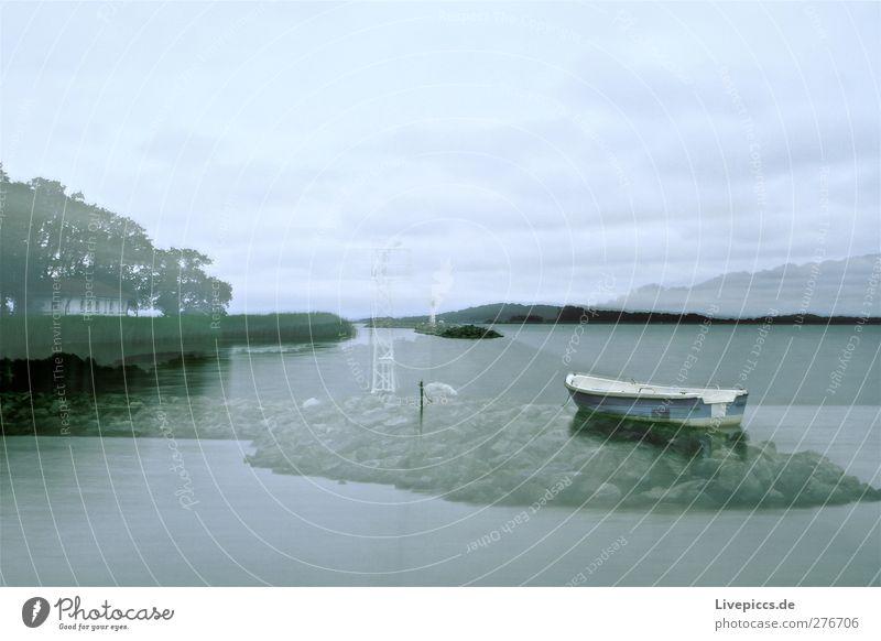 Dämmerung in Lauterbach Umwelt Natur Landschaft Wasser Himmel Wolken schlechtes Wetter Pflanze Baum Gras Sträucher Wildpflanze Küste Seeufer Strand Bucht Insel