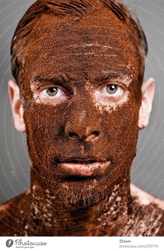 SpongeBob Kaffeekopf Mensch Jugendliche alt Junger Mann dunkel 18-30 Jahre Gesicht Erwachsene Auge natürlich maskulin dreckig authentisch Neugier Surrealismus